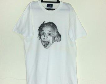 Rare!!! Vintage Albert Einstein 90's Shirt USA Full Print Photo Tshirt