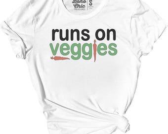 Runs on Veggies, vegan racerback, veggie lover, kale, funny vegan shirt, gifts for vegans, vegetarian, peas,     V018