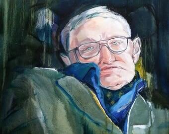 Stephen Hawking, Portrait, Oil Painting, landscape Painting, Modern Art, Contemporary Art, Canvas Art
