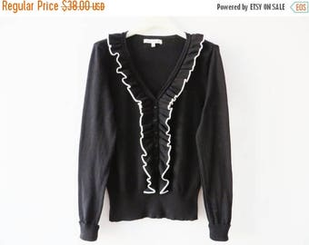 CIJ SALE Laura Ashley Top Black Ruffled Top Laura Ashley Sweater Black Jabot Top Knitted Black Blouse Black Cotton Sweater Size Small Long S