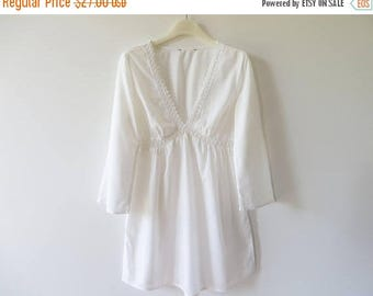 ON SALE White Cotton Batiste Tunic Lightweight Women Summer Blouse Lace Trimmed Top Thin Summer Days Maternity Blouse Size Small