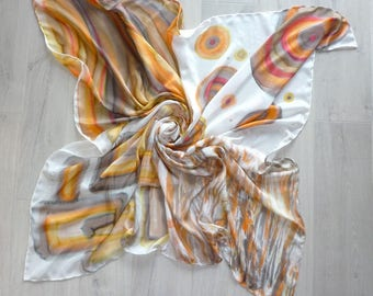 A very large square silk scarf (handpainted)
