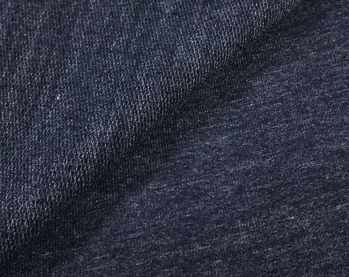 Poly Cotton French Terry Knit Fabric (Wholesale Price Available By the Bolt) USA Made Premium Quality - 6015PCRN NAVY- 1 Yard