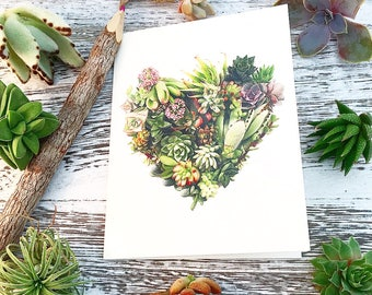 6 Pack of Blank Succulent Heart Notecards