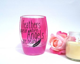 Feathers appear when lost loved, memorial candle holder, in loving memory,Rememberence sympathy gift, pet memorial, infant loss, angel baby