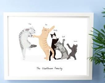 Personalised Cat Family Print