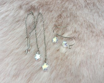 cute iridescent, opalescent czech glass threader and dangle earrings for women and girls