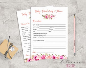 Baby Shower Baby Predictions Advice Game Pink Floral Baby Game Trivia Pink Roses Baby Shower Card Digital Printable Baby Activity - CG017