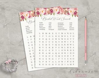 Floral Word Search Bridal Shower Game Digital Download Bridal Trivia Pink Peonies Printable Flowers Bohemian Bridal Shower Quiz - BG014