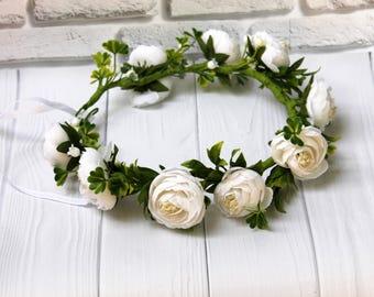 Fairytale Gift Rustic Wedding Floral Crown Woodland Wedding White Flower Crown spring wedding Bridal wedding headband flower headpiece boho