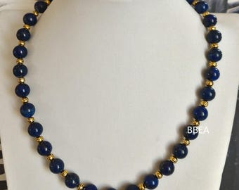 Necklace in Lapis Lazuli, stone of self-confidence, 8mm beads and Tibetan Silver Gold round beads