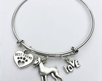 Doberman Best Friend Charm Bracelet