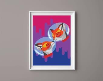 Space Fox Print//A4//Wall Decoration