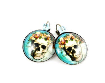 Rock - Skull earrings skull skull and flowers