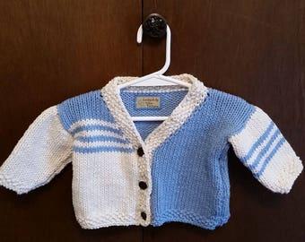 Boys crochet jacket cardigan knit blue beige 2T