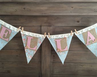 Beautiful personalised name bunting banner cake smash first birthday baby shower nursery decor photo prop