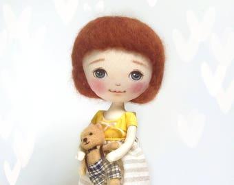 Ragdoll, Handmade cloth doll, Fabric doll, Short hair doll, Toy for girl, Gift for girl, gift for her