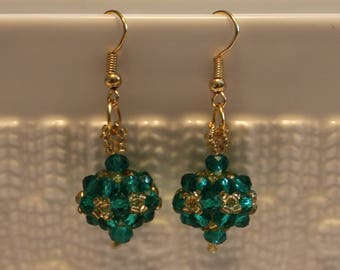 Cute glass-beaded earrings in blue and golden hues ; beadweaving, handmade, Dangle & drop, beautiful, casual-wear, party-wear