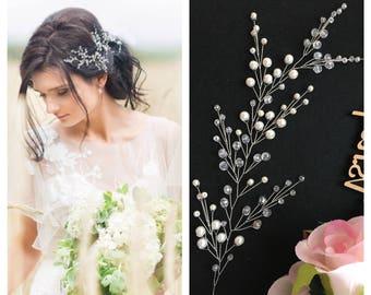 FREE SHIPPING!!Bridal hair vine,Crystals Bridal Wedding,Headband,Hairpiece Bridal Hair Vine,Wedding hair-vine,pearl hair vine