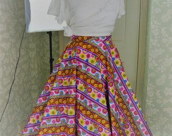Stripy long floral circle skirt