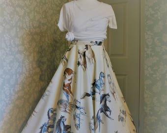 Horse print long circle skirt