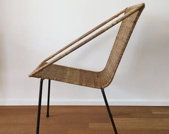 Mid century 60s 50s Wicker Chair basket chair in the style of Gian Franco Legler/Franco Campo/Carlo Graffi