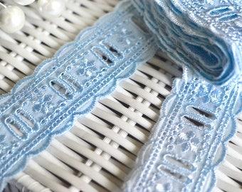 Blue cotton lace I Blue lace trim I Lace trim I Blue lace I Baby blue lace I Sewing supplies I Dolls dress lace I Shabby chic lace I Lace