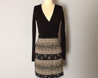 ornament wrap mini skirt | 1990s rayon mini skirt | fold around wrap front skirt