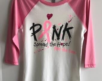 Pink Breast Cancer Awareness Baseball Tee