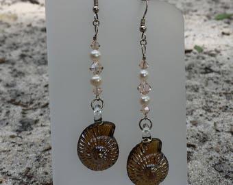 Brown Glass Seashell Earrings