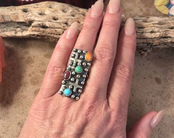 Navajo Sterling Silver & Multi Stone Ring Size 8.5 Signed