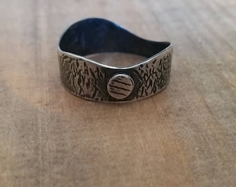 Handmade wave band ring, sterling silver mens or ladies rings, rustic moon and mountain ring, Outdoors travel, gift for him