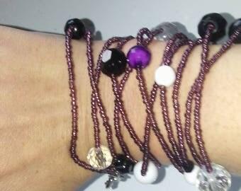 Purple glass beads xtra long
