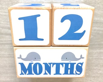 Baby Age Blocks - Whales - Nautical Nursery - Newborn - Baby Monthly Milestone - Monthly Blocks - Baby Boy Milestone - Newborn Photo Props