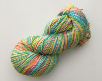 Hand dyed variegated yarn in superwash Merino Wool and Nylon stockings