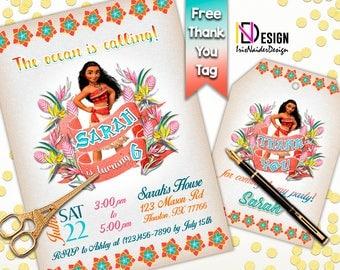 Moana invitation FREE thank you tag, Moana Invites, Moana birthday invitation, Moana Invitations, Moana Thank You tag, Moana Digital Files