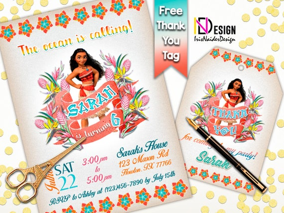 Moana invitation FREE thank you tag Moana Invites Moana birthday