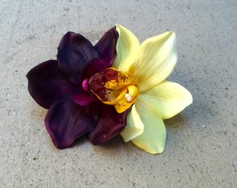 Tropical orchids, yellow and eggplant, silk flower hair clip