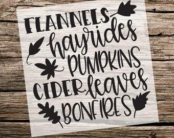 Flannels, Hayrides, Pumpkins, Cider, Leaves and Bonfires | Fall Stencil | Custom Stencil | Custom Stencils | Multiple Sizes|Reusable Stencil