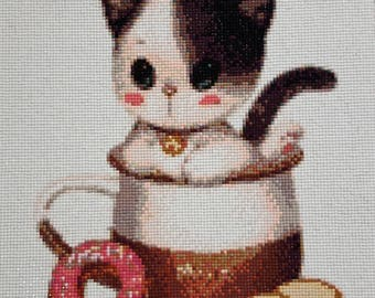 Cute Kitty in Cookie Jar with Donut Diamond Painting