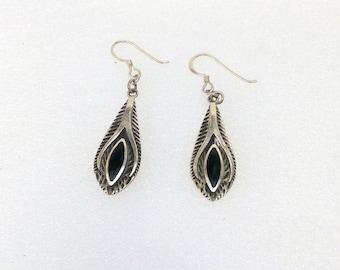 Vintage 925 silver earrings Handmade With Genuine Onyx