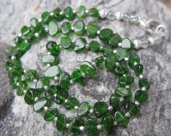 Chromdiopside Necklace A Quality with 925 Silver