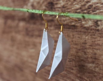 AHOY! Paper boat earrings in white, self folded from real paper, more