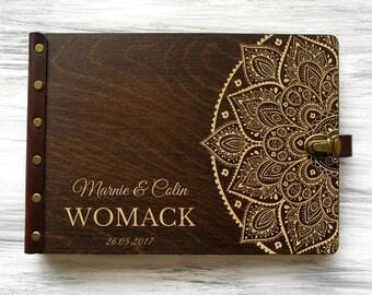 Wedding Guest Book, Guestbook Wedding Boho, Wedding Guestbook Mandala, Guest book, Wedding Guestbook, Custom Guest Book, Wood Guest Book
