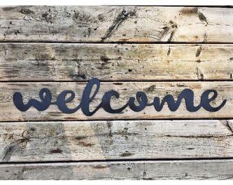 Welcome Script | Metal Sign | Metal Wall Art | Porch Decor