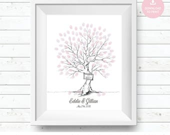 fingerprint tree, thumbprint tree, guestbook tree, wedding fingerprint, tree guestbook, wedding tree poster, fingerprint guest,  centerpiece