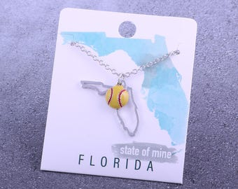 Customizable! State of Mine: Florida Softball Enamel Necklace - Great Softball Gift!
