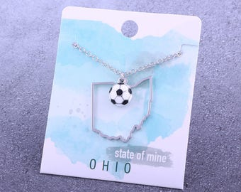 Customizable! State of Mine: Ohio Soccer Enamel Necklace - Great Soccer Gift!