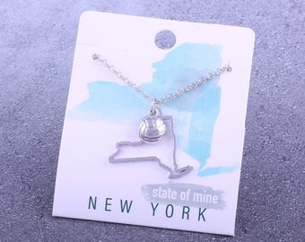 Customizable! State of Mine: New York Volleyball Silver Necklace - Great Volleyball Gift!
