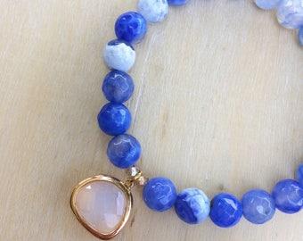 Ribbon Agate Beaded Stack Bracelet, Opal Pendant Stack Bracelet, Statement Jewelry, Blue Bracelet